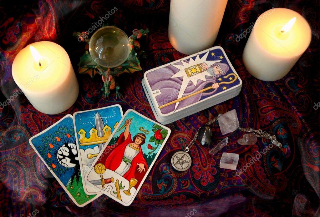 Tarot cards and candles